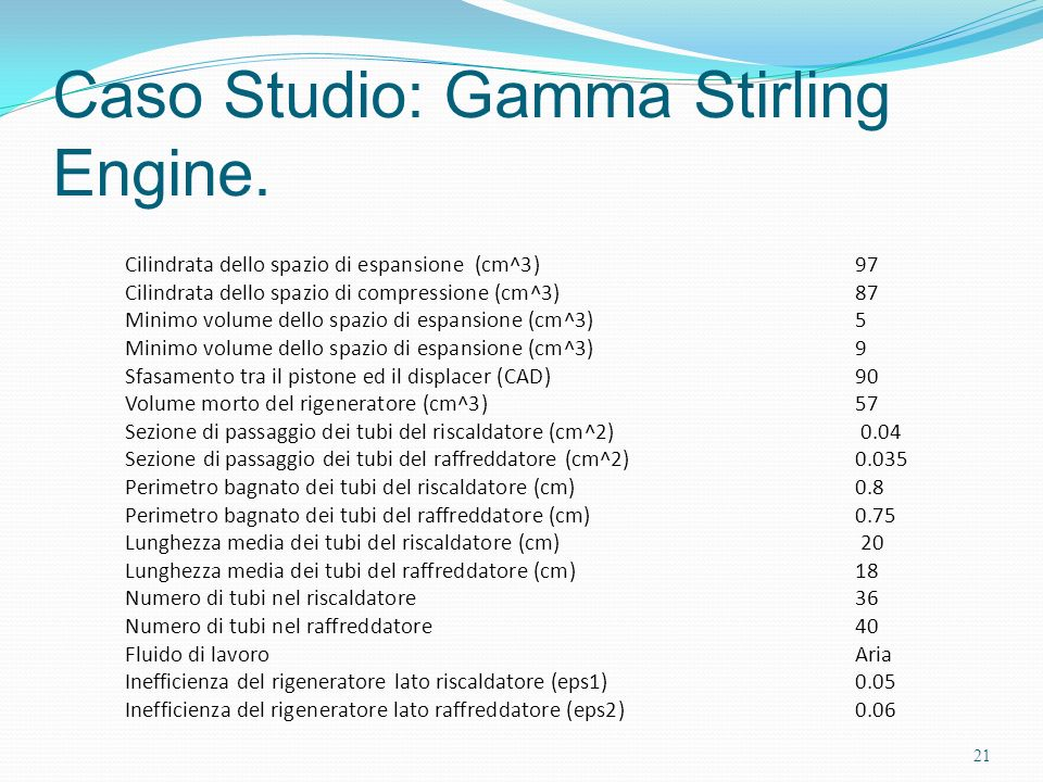Caso Studio: Gamma Stirling Engine.