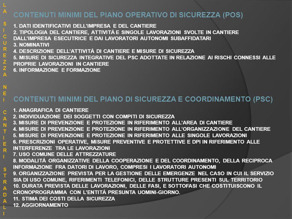CONTENUTI MINIMI DEL PIANO OPERATIVO DI SICUREZZA (POS)