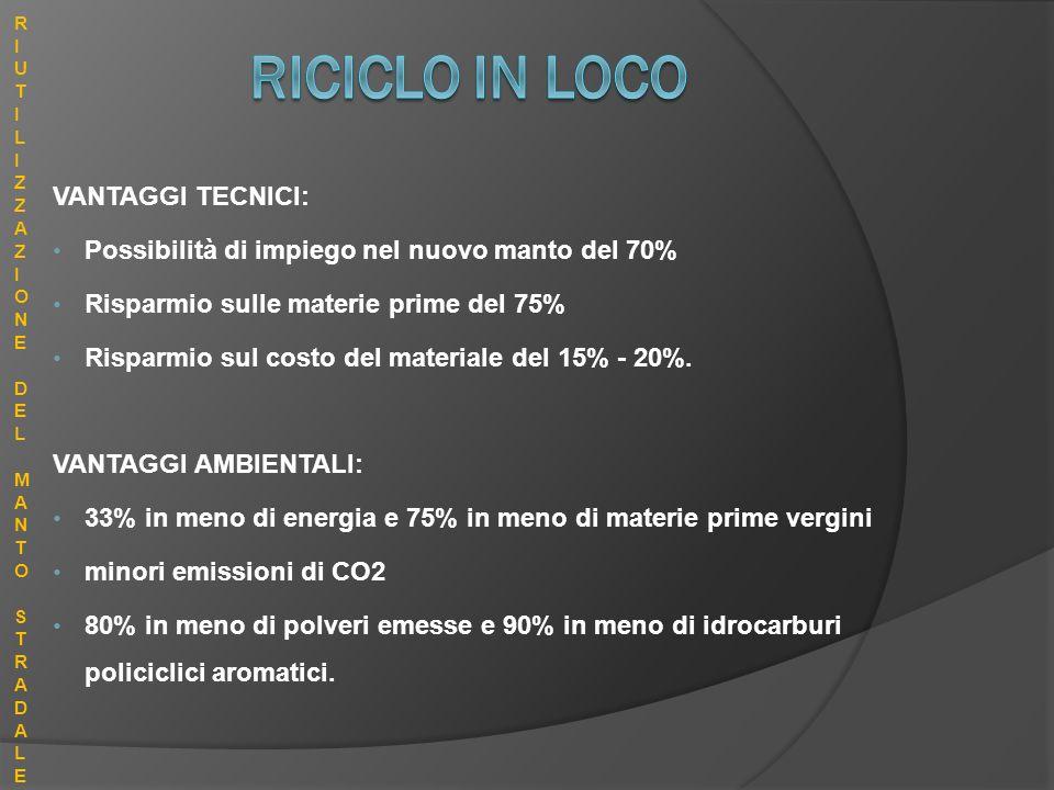 RICICLO IN LOCO VANTAGGI TECNICI: