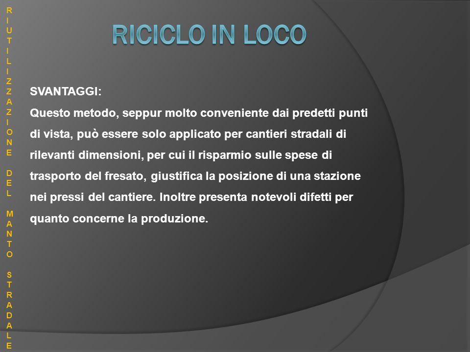 RICICLO IN LOCO SVANTAGGI: