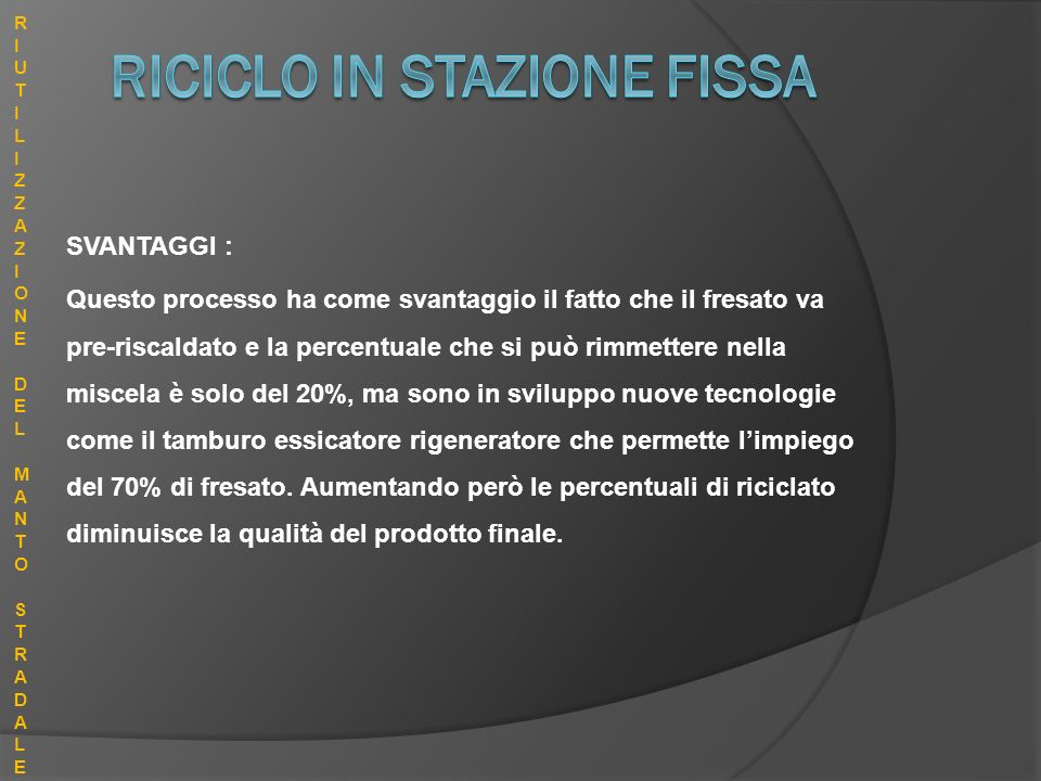 RICICLO IN STAZIONE FISSA