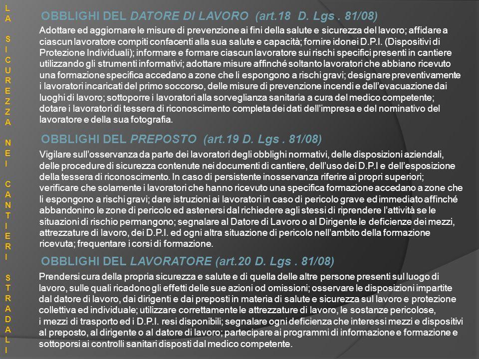 OBBLIGHI DEL DATORE DI LAVORO (art.18 D. Lgs . 81/08)