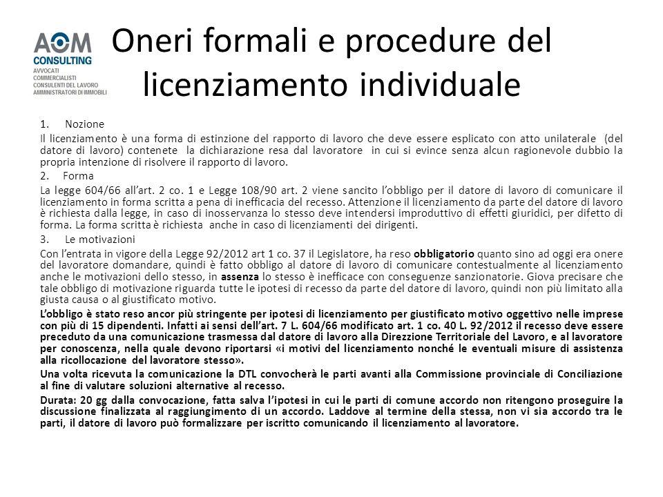 Oneri formali e procedure del licenziamento individuale