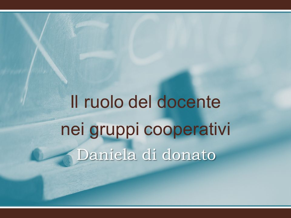 Il ruolo del docente nei gruppi cooperativi