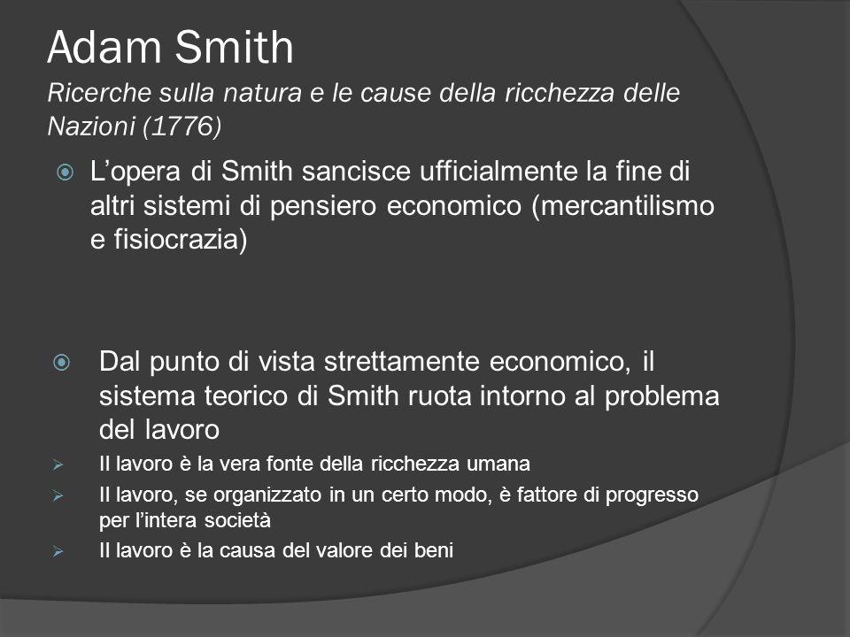 Adam Smith Ricerche sulla natura e le cause della ricchezza delle Nazioni (1776)