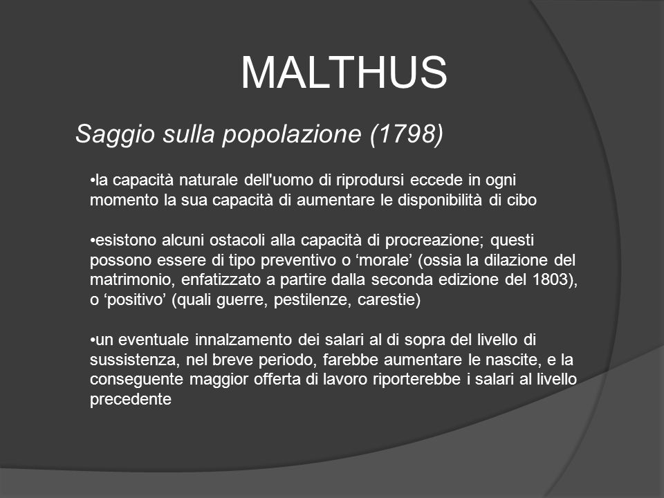 MALTHUS Saggio sulla popolazione (1798)