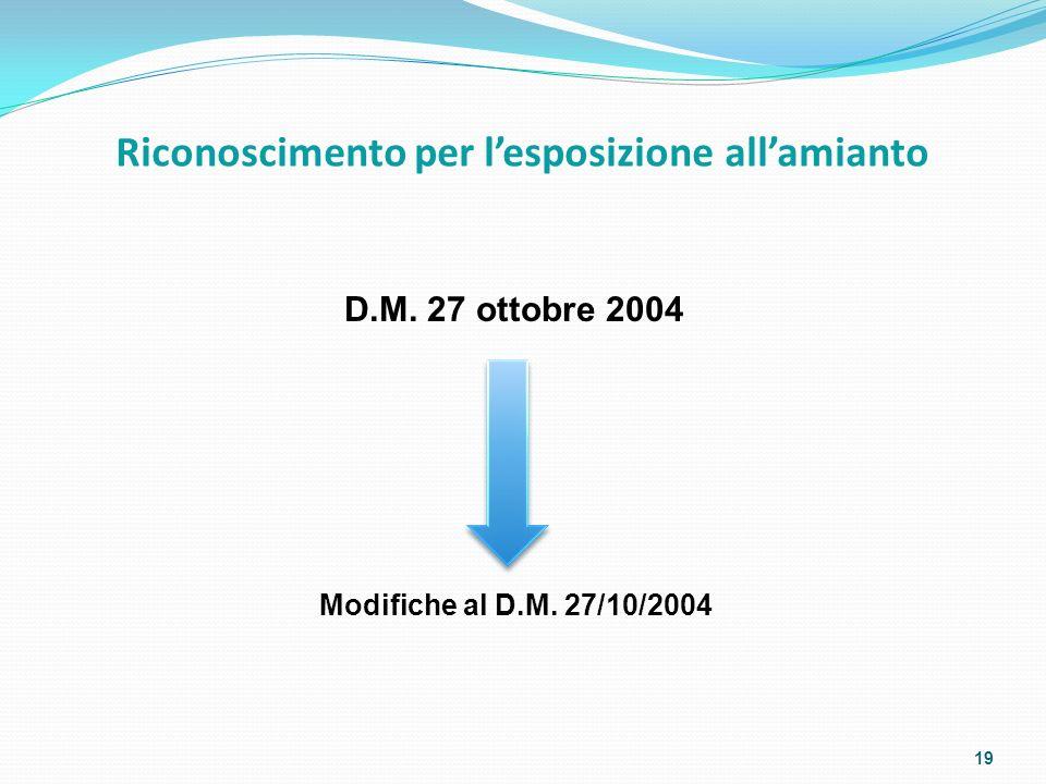 Riconoscimento per l'esposizione all'amianto