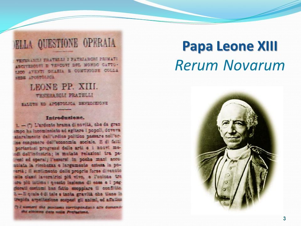 Papa Leone XIII Rerum Novarum