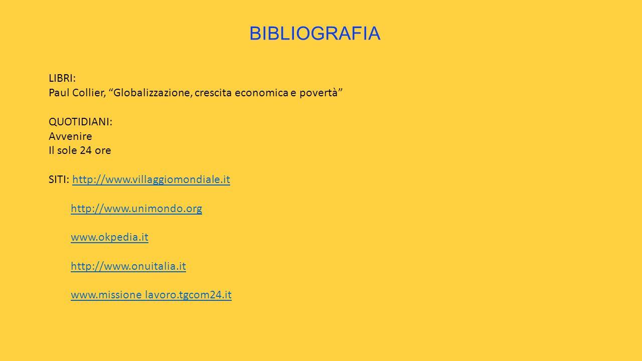 BIBLIOGRAFIA LIBRI: Paul Collier, Globalizzazione, crescita economica e povertà QUOTIDIANI: Avvenire.