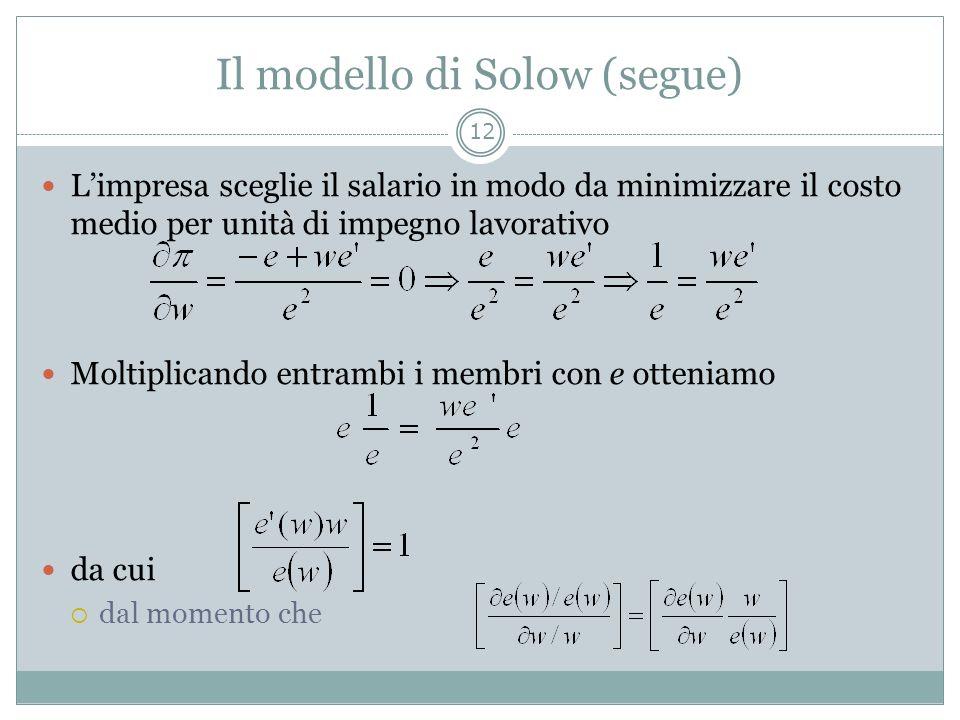 Il modello di Solow (segue)