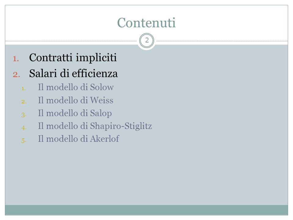 Contenuti Contratti impliciti Salari di efficienza Il modello di Solow