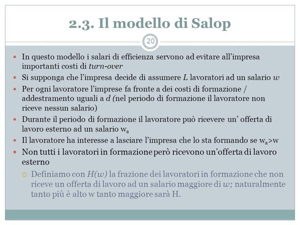 2.3. Il modello di Salop In questo modello i salari di efficienza servono ad evitare all'impresa importanti costi di turn-over.