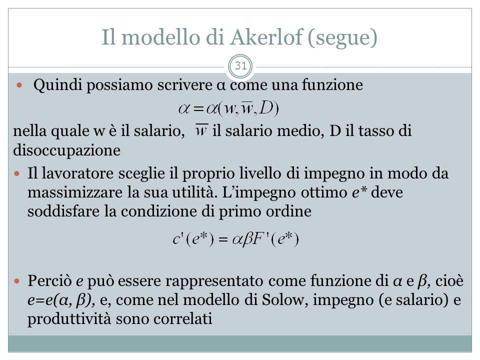 Il modello di Akerlof (segue)