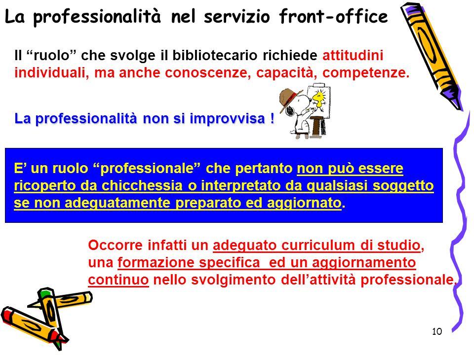 La professionalità nel servizio front-office