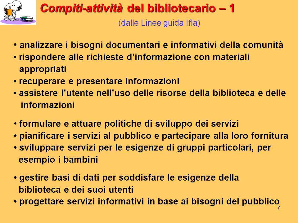 Compiti-attività del bibliotecario – 1 (dalle Linee guida Ifla)