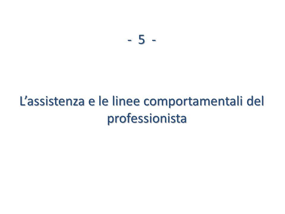 L'assistenza e le linee comportamentali del professionista