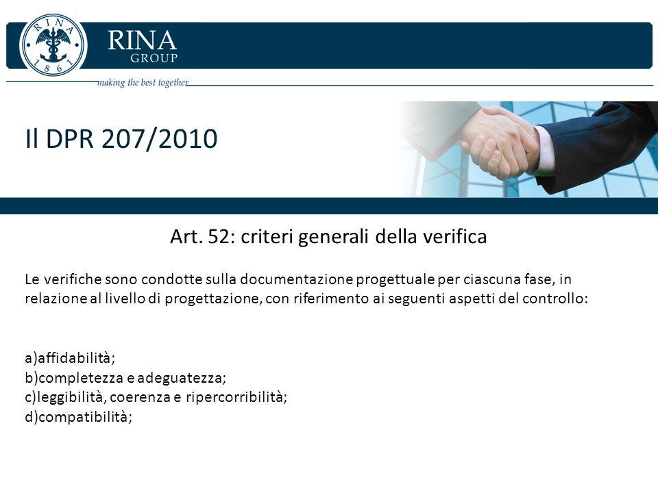Art. 52: criteri generali della verifica