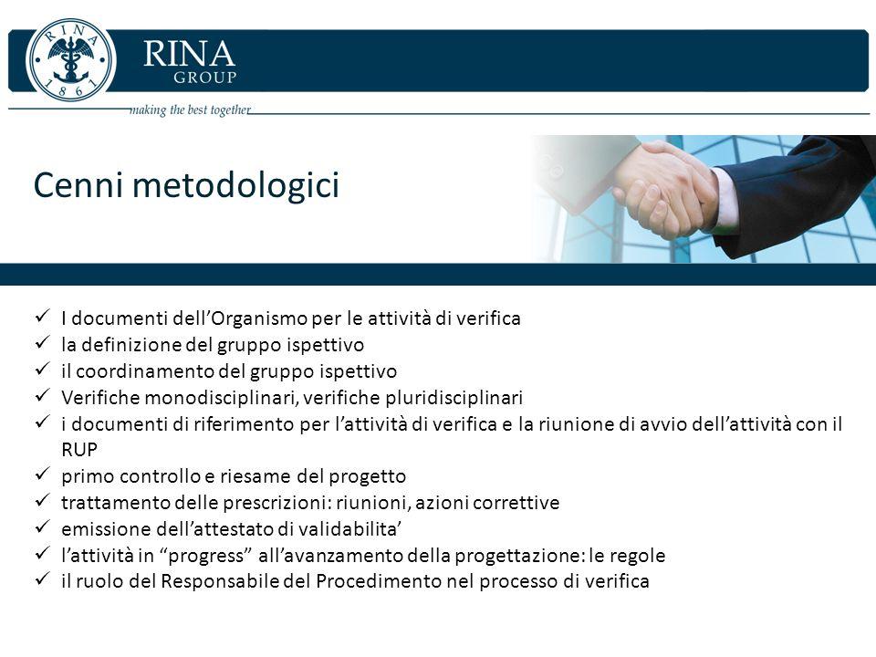 Cenni metodologici I documenti dell'Organismo per le attività di verifica. la definizione del gruppo ispettivo.