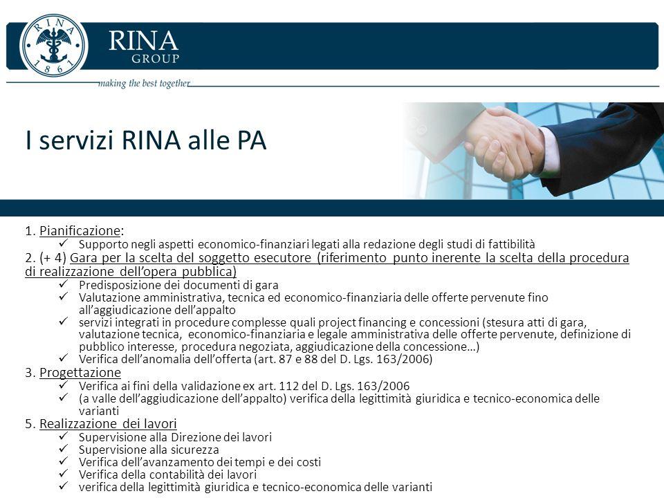 I servizi RINA alle PA Pianificazione: