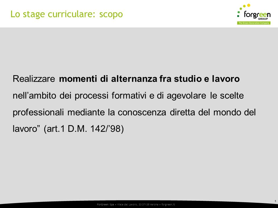 Lo stage curriculare: scopo