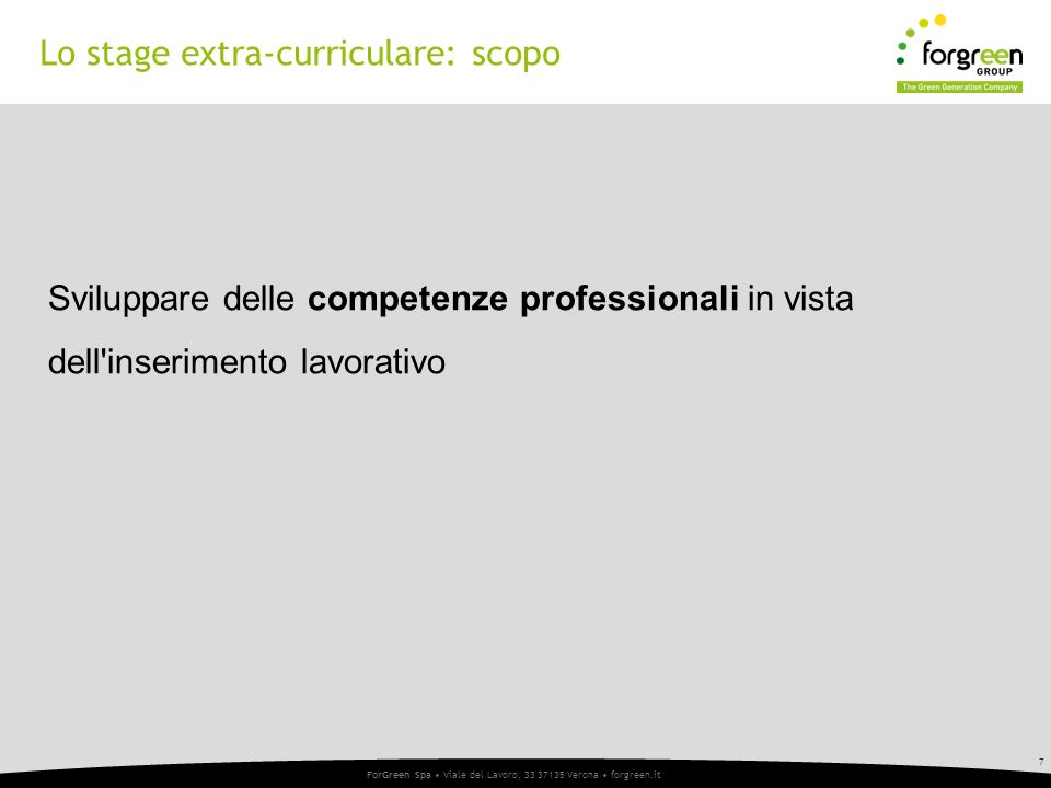 Lo stage extra-curriculare: scopo