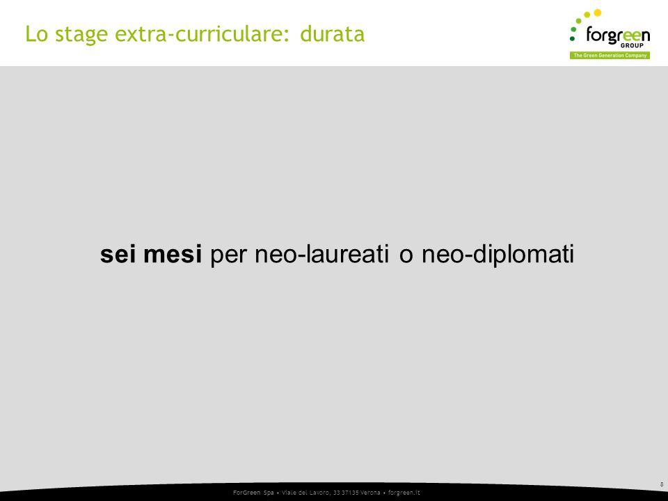 Lo stage extra-curriculare: durata
