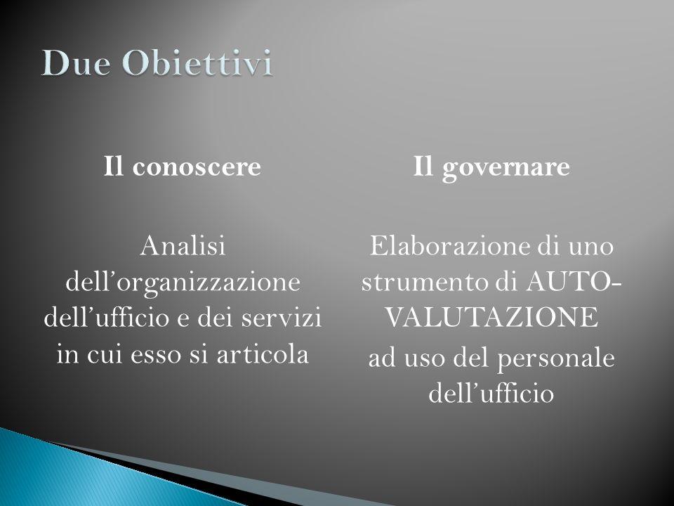 Due Obiettivi Il conoscere Analisi dell'organizzazione dell'ufficio e dei servizi in cui esso si articola