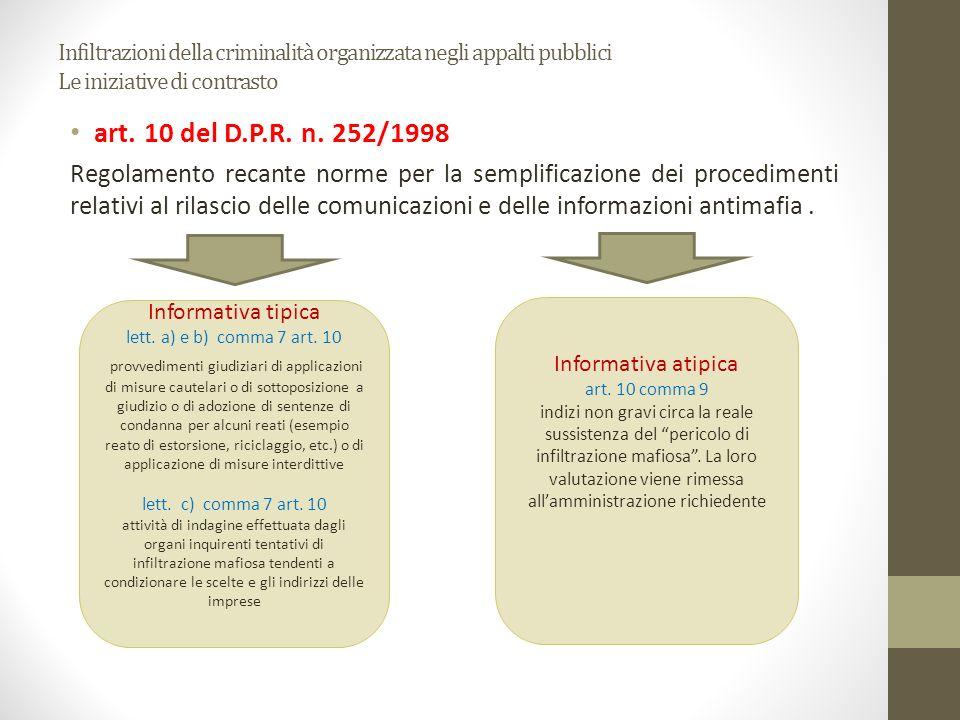 Infiltrazioni della criminalità organizzata negli appalti pubblici Le iniziative di contrasto