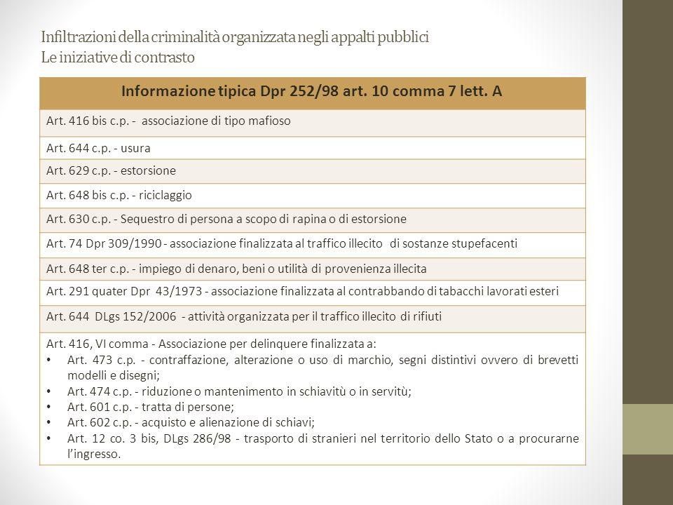 Informazione tipica Dpr 252/98 art. 10 comma 7 lett. A
