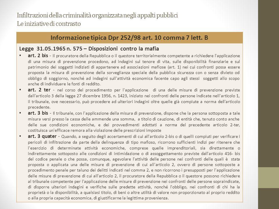 Informazione tipica Dpr 252/98 art. 10 comma 7 lett. B