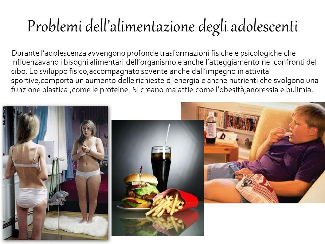 Problemi dell'alimentazione degli adolescenti