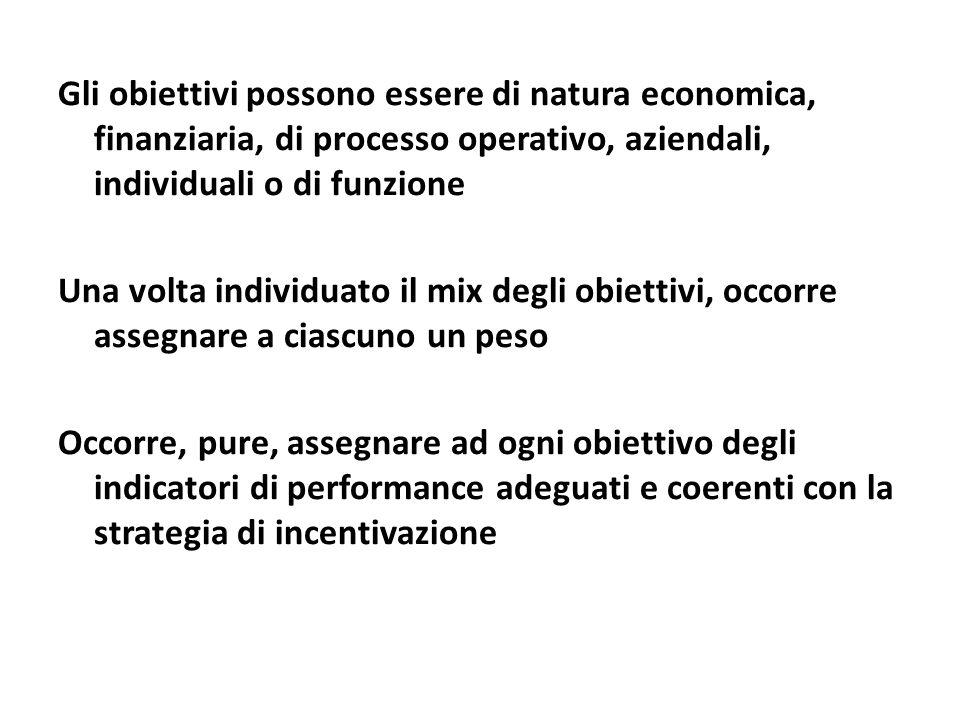 Gli obiettivi possono essere di natura economica, finanziaria, di processo operativo, aziendali, individuali o di funzione
