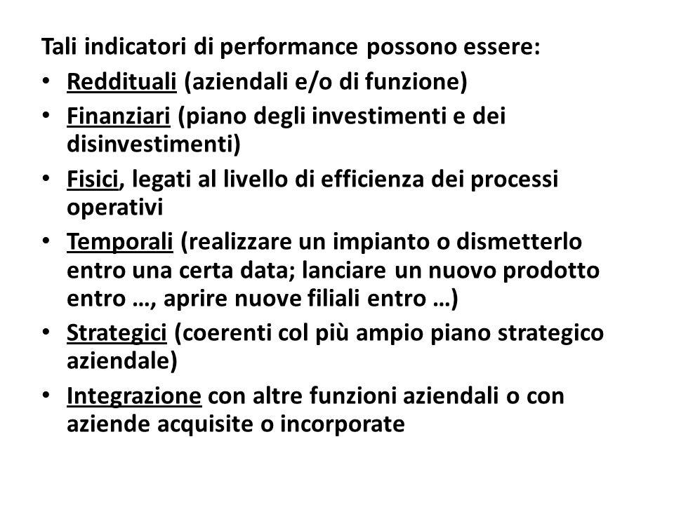 Tali indicatori di performance possono essere: