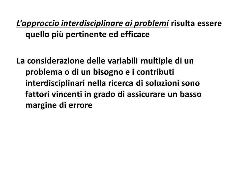 L'approccio interdisciplinare ai problemi risulta essere quello più pertinente ed efficace