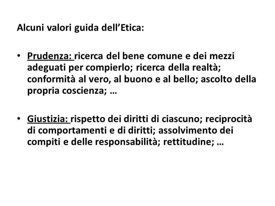 Alcuni valori guida dell'Etica: