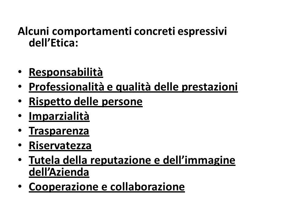 Alcuni comportamenti concreti espressivi dell'Etica: