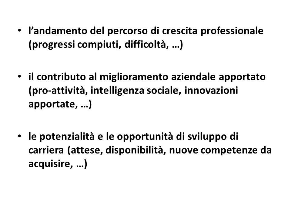 l'andamento del percorso di crescita professionale (progressi compiuti, difficoltà, …)
