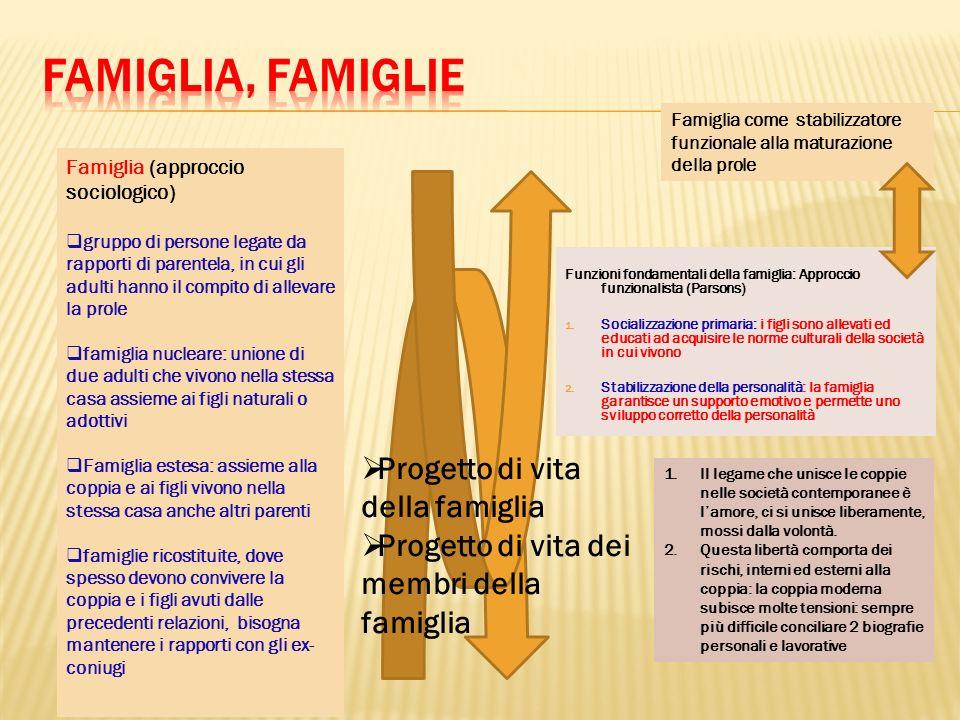 Famiglia, Famiglie Progetto di vita della famiglia