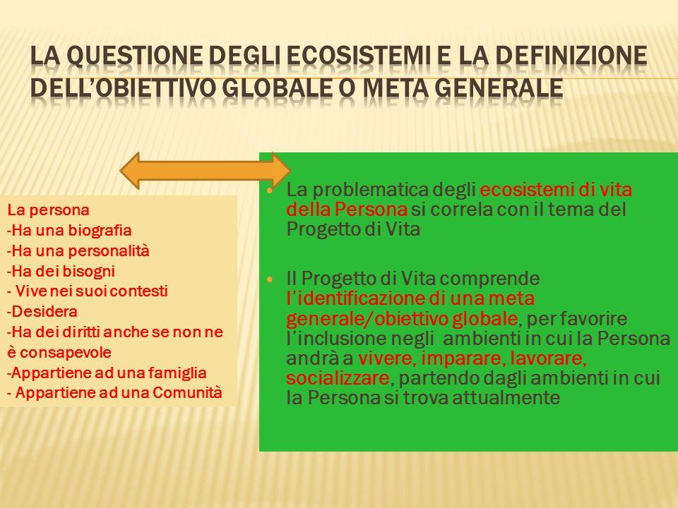 La questione degli Ecosistemi e la definizione dell'Obiettivo Globale o Meta Generale