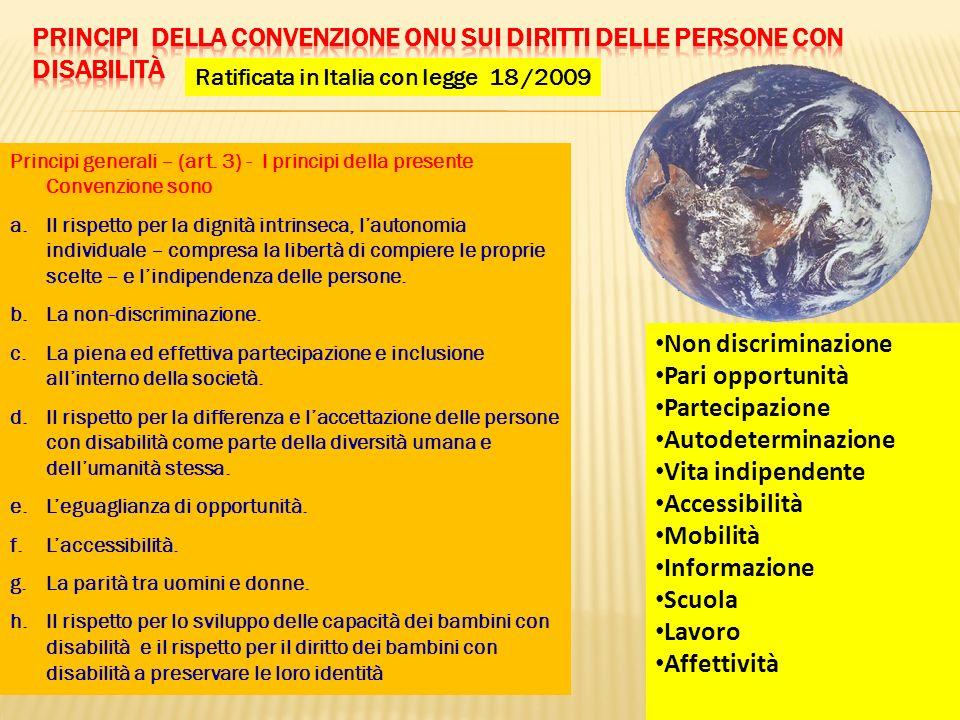 Principi della Convenzione ONU sui diritti delle persone con disabilità