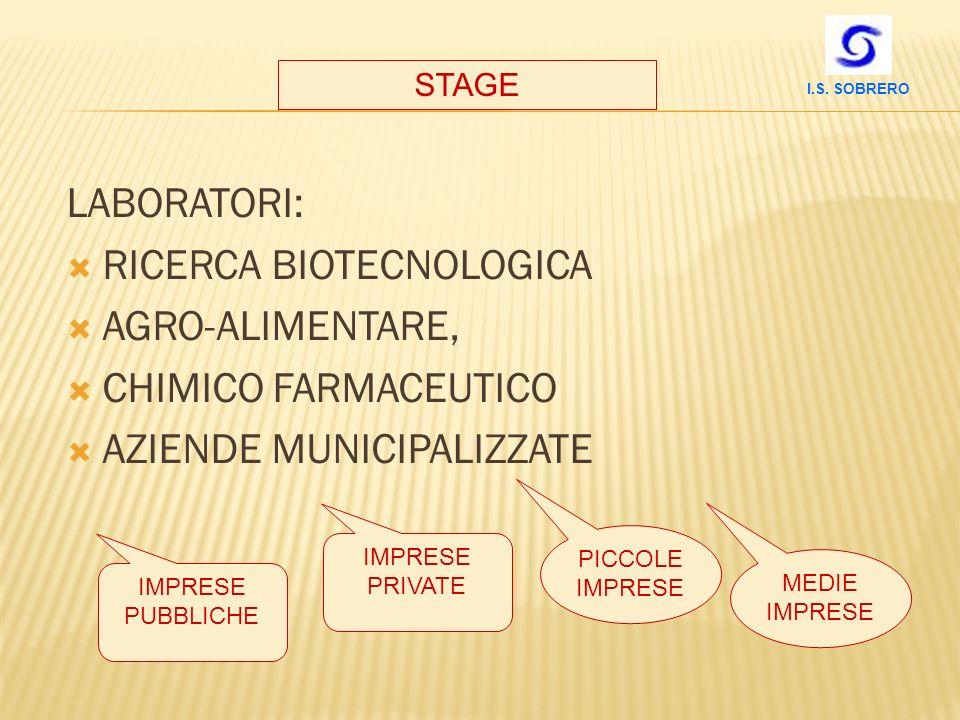 RICERCA BIOTECNOLOGICA AGRO-ALIMENTARE, CHIMICO FARMACEUTICO