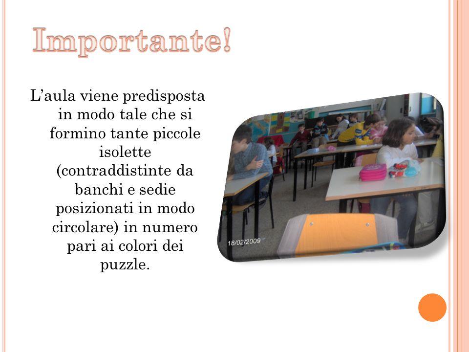L'aula viene predisposta in modo tale che si formino tante piccole isolette (contraddistinte da banchi e sedie posizionati in modo circolare) in numero pari ai colori dei puzzle.