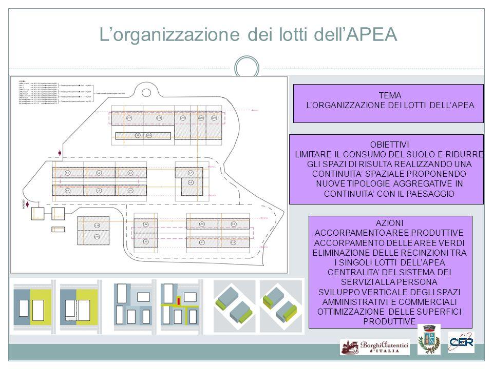 L'organizzazione dei lotti dell'APEA