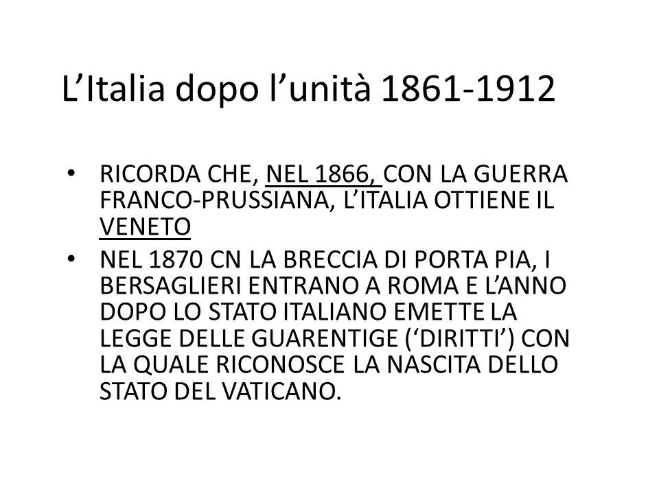 L'Italia dopo l'unità 1861-1912