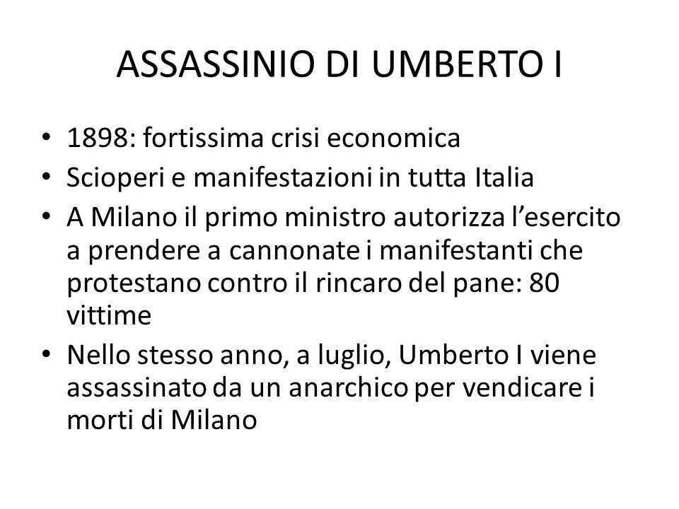 ASSASSINIO DI UMBERTO I