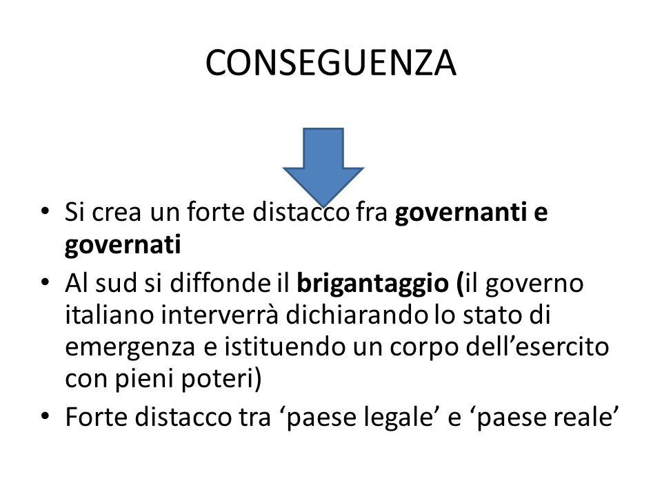 CONSEGUENZA Si crea un forte distacco fra governanti e governati