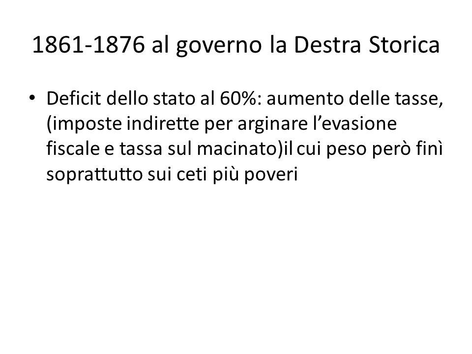 1861-1876 al governo la Destra Storica