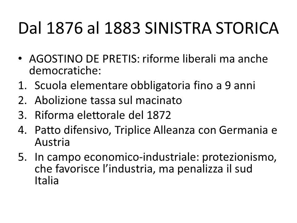 Dal 1876 al 1883 SINISTRA STORICA