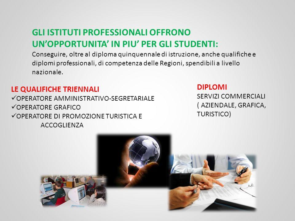 GLI ISTITUTI PROFESSIONALI OFFRONO UN'OPPORTUNITA' IN PIU' PER GLI STUDENTI: