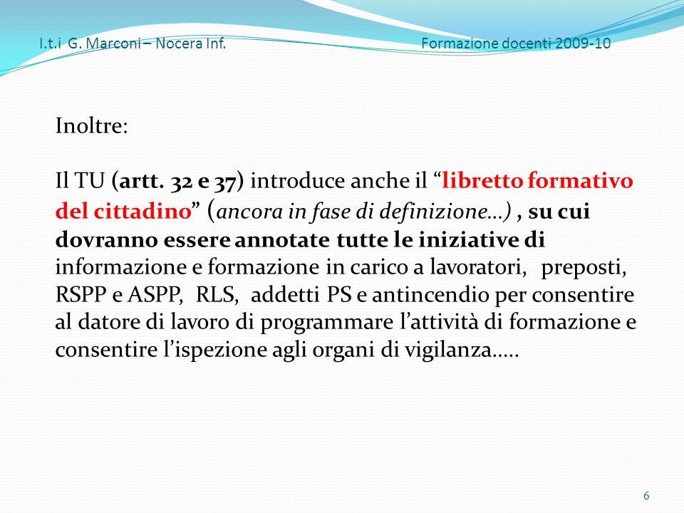 I.t.i G. Marconi – Nocera Inf. Formazione docenti 2009-10